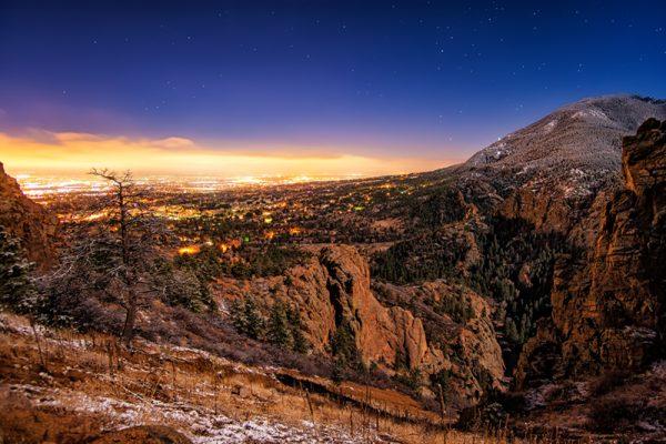 Colorado Springs Under Moonlight