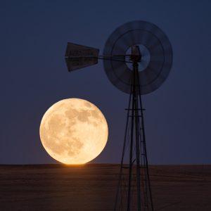 Lone Prairie Windmill Moonrise